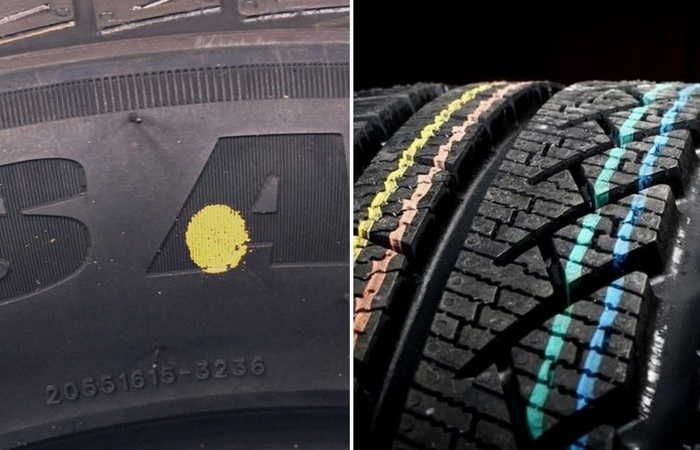 Цветные метки на шинах
