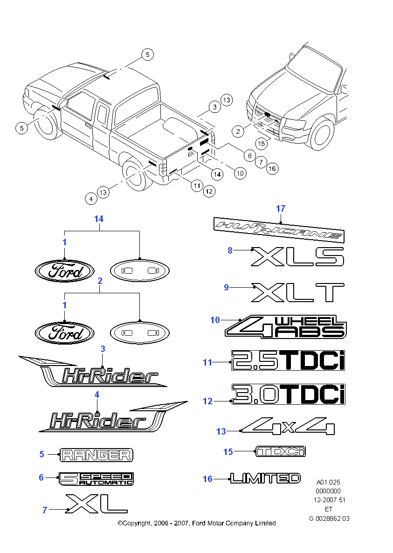 Ford ranger 3.2 tdci at wildtrak двойная кабина (06.2011 - 12.2014) - технические характеристики