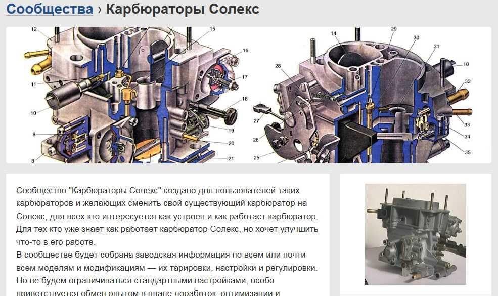 Тарировочные данные карбюратора 21051-1107010 солекс   twokarburators.ru